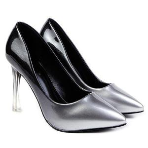 Ombre Pointed Toe Pumps - Silver - 39
