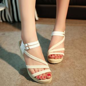 Woven Belt Wedge Heel Sandals - White - 39