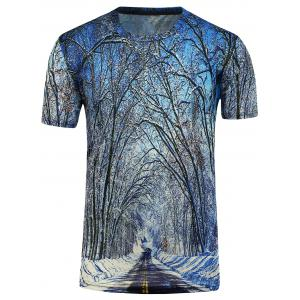 3D Trees Short Sleeve T-Shirt - Blue - S