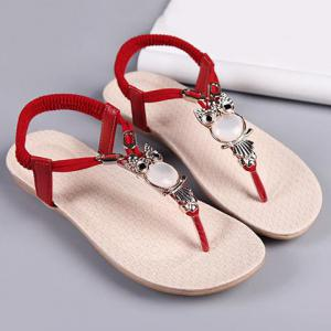 Elastic Band Faux Leather Sandals - Red - 39