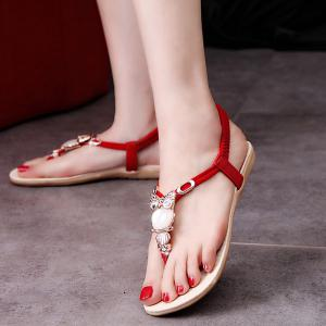 Elastic Band Faux Leather Sandals - RED 40