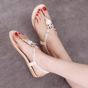 Elastic Band Faux Leather Sandals - COMPLEXION 40