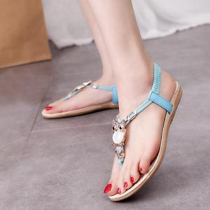 Elastic Band Faux Leather Sandals - BLUE 39