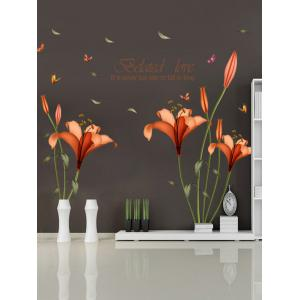 Vinly Flower Love Quote Removable Wall Stickers - Jacinth - 60*90cm