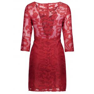 Lace See Through Short Robe de cocktail avec manches - Rouge S