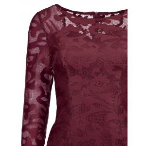 Lace See Thru Short Cocktail Dress with Sleeves - WINE RED S