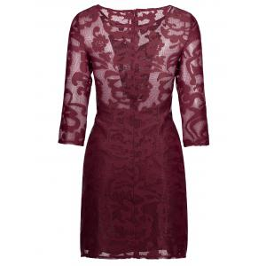 Lace See Through Short Robe de cocktail avec manches - Rouge vineux  S
