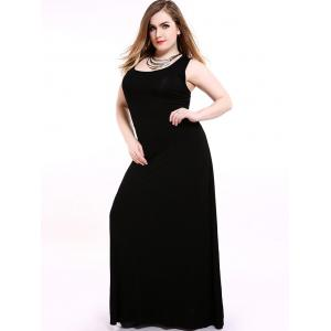 Plus Size Maxi Racerback Formal Party Dress - Black - 3xl