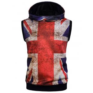 Union Jack Print Distressed Design Sleeveless Hoodie