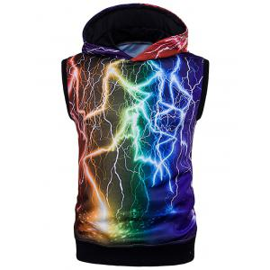 Colorful 3D Lightning Print Trippy Sleeveless Hoodies