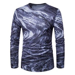 Crew Neck 3D Ombre Rock Tie Dye Trippy T-Shirt - Black - 2xl