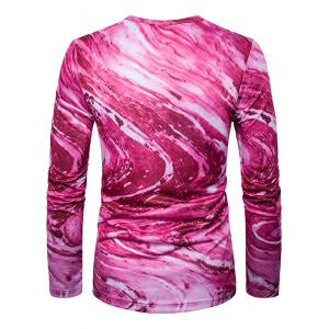 Crew Neck 3D Ombre Rock Tie Dye Trippy T-Shirt - ROSE RED 2XL