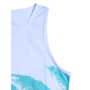 Breathable Tie Dye Tank Top - WHITE AND GREEN 2XL