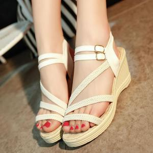 Woven Belt Wedge Heel Sandals - WHITE 37