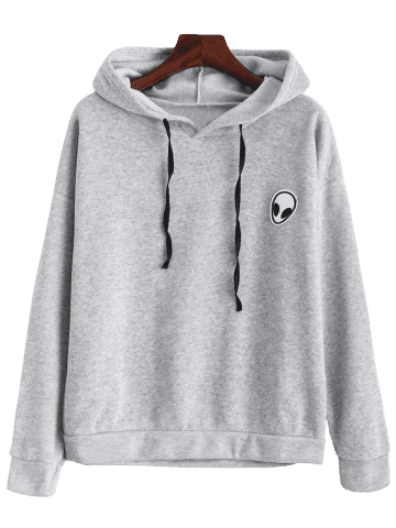 Buy Alien Patch Drawstring Hoodie - M GRAY Mobile
