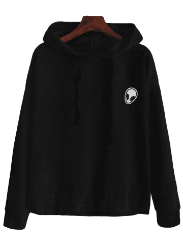 Chic Alien Patch Drawstring Hoodie - XL BLACK Mobile