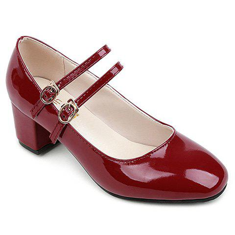 Affordable Double Buckle Straps Patent Leather Pumps