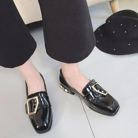 Chic Buckle Straps Patent Leather Flat Shoes