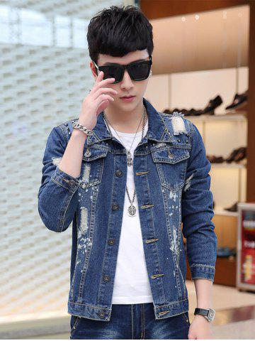 Online Flap Pocket Destroyed Denim Jacket - L DENIM BLUE Mobile