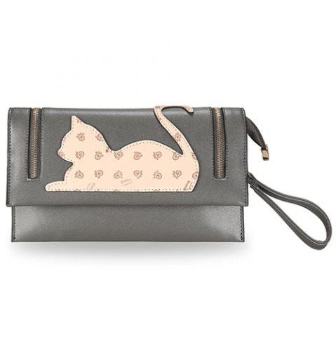 Affordable Zip Detail Cat Patch Clutch Bag