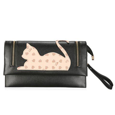 Fancy Zip Detail Cat Patch Clutch Bag BLACK