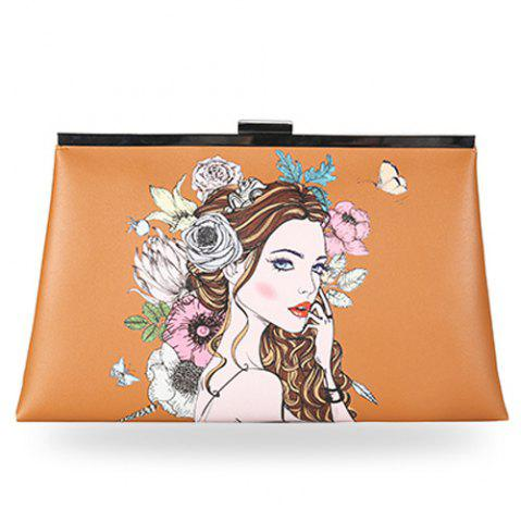 Hot Clip Portrait Print Clutch Bag
