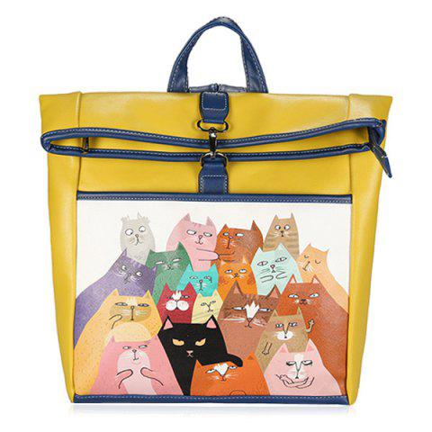 New Funny Cat Painted Backpack YELLOW