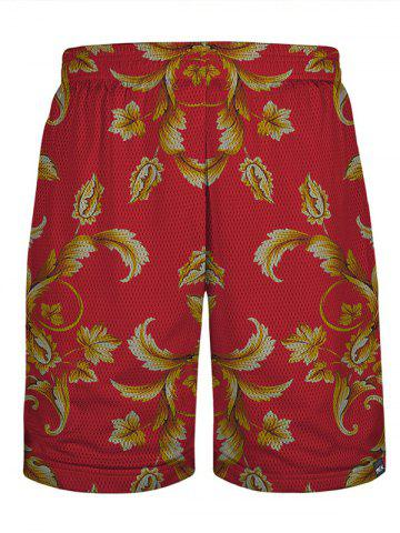 Floral Mesh Board Shorts - Yellow And Red - Xl