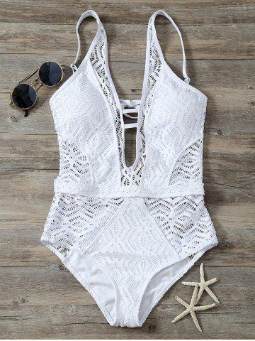 New Cutout Backless Lace One Piece Swimwear - S WHITE Mobile