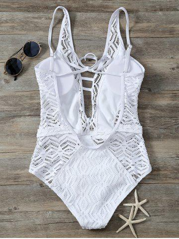 Best Cutout Backless Lace One Piece Swimwear - XL WHITE Mobile