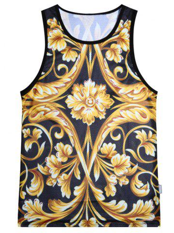 Floral Printed Sports Tank Top - Yellow And Black - 2xl