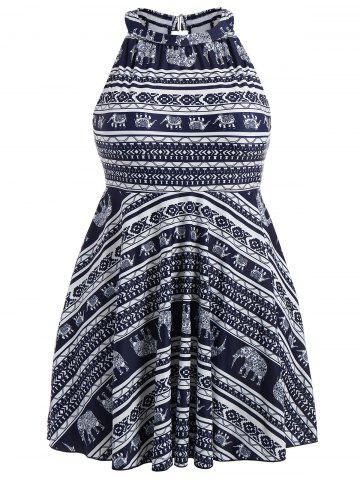 Plus Size Bandanna Printed High Neck Skirted Swimsuit - Purplish Blue - 4xl