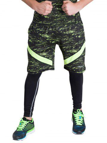 Sale Color Block Selvedge Embellished Elastic Waist Basketball Shorts NEON GREEN XL