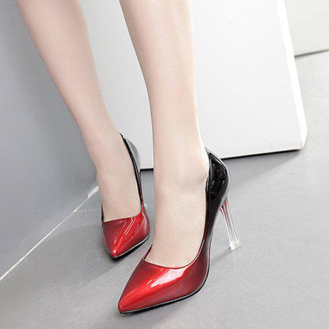 Unique Ombre Pointed Toe Pumps - 39 RED Mobile