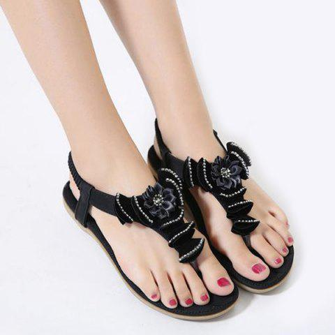 Flower Flat Heel Rhinestones Sandals - Black - 41
