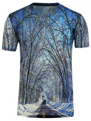 Outfit 3D Trees Short Sleeve T-Shirt - 3XL BLUE Mobile