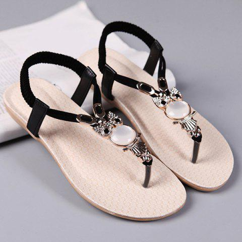 Trendy Elastic Band Faux Leather Sandals - 37 BLACK Mobile