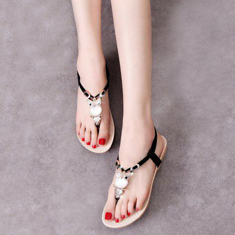 Hot Elastic Band Faux Leather Sandals - BLACK 38 Mobile