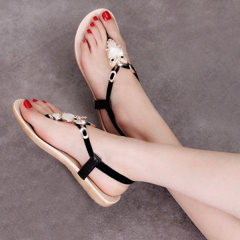 Best Elastic Band Faux Leather Sandals - BLACK 38 Mobile