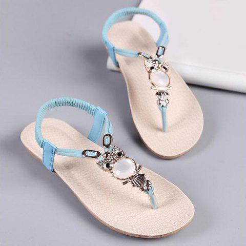 Buy Elastic Band Faux Leather Sandals BLUE 39