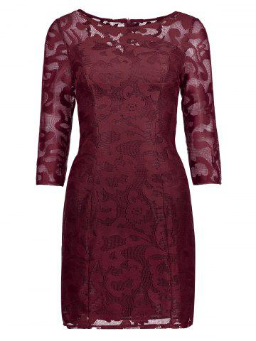 Lace See Thru Short Cocktail Dress with Sleeves - Wine Red - Xl