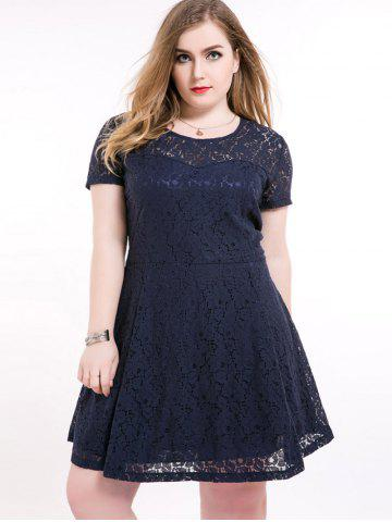 Online Plus Size Short A Line Lace Skater Dress - 6XL DEEP BLUE Mobile