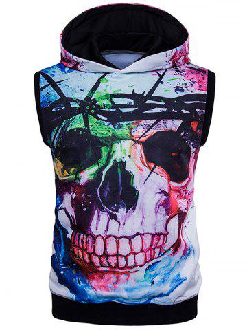 Outfits Splatter Paint 3D Skull Print Trippy Sleeveless Hoodies - XL COLORMIX Mobile