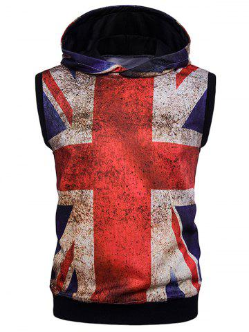 Union Jack Print Distressed Design Sleeveless Hoodie - Colormix - 2xl