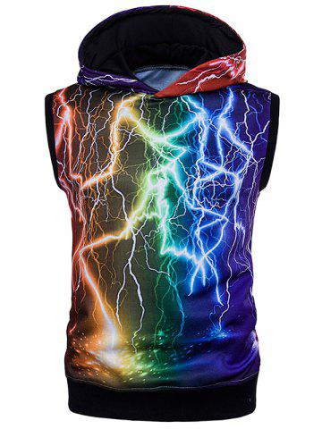 Affordable Colorful 3D Lightning Print Trippy Sleeveless Hoodies - M COLORMIX Mobile