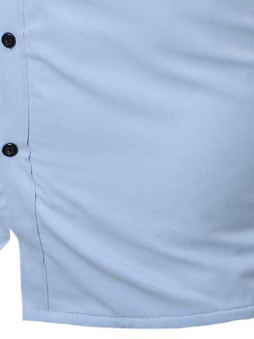 Chic Slim Fit Flocking Long Sleeve Formal Shirt - L WHITE Mobile