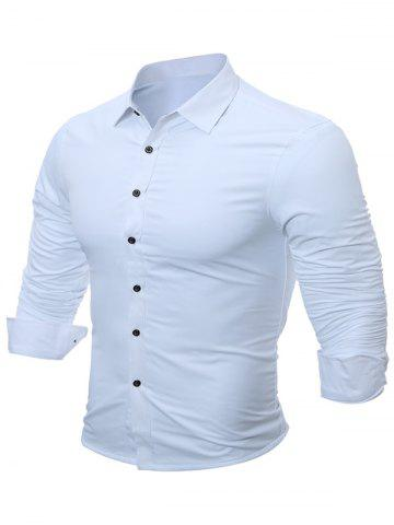 New Slim Fit Flocking Long Sleeve Formal Shirt - L WHITE Mobile