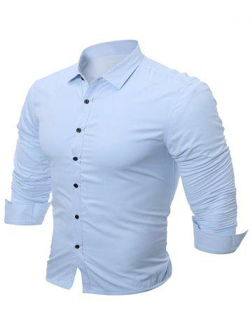 Buy Slim Fit Flocking Long Sleeve Formal Shirt - 4XL ICE BLUE Mobile