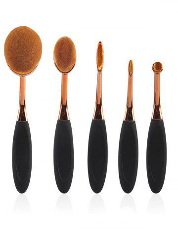 5 Pcs Oval Toothbrush Shape Makeup Brushes Set - Black