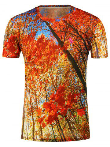3D Maples Printed Short Sleeves T-Shirt - Orange Red - Xl